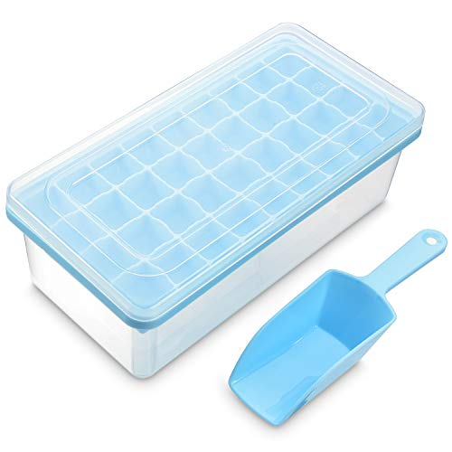 Ice Cube Tray With Lid and Bin | 32 Nugget Silicone Ice Tray For Freezer | Comes with Ice Container, Scoop and Cover | Good Size Ice Bucket