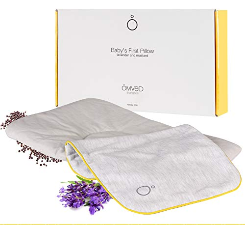Omved Baby's First Pillow Head Shaping Rai Mustard Seeds Pillow with Lavender, Removable Cotton Cover, Medium Size(19 x 25 cm, 500g)