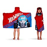 "Franco Kids Bath and Beach Soft Cotton Terry Hooded Towel Wrap, 24"" x 50"", Hot Wheels"