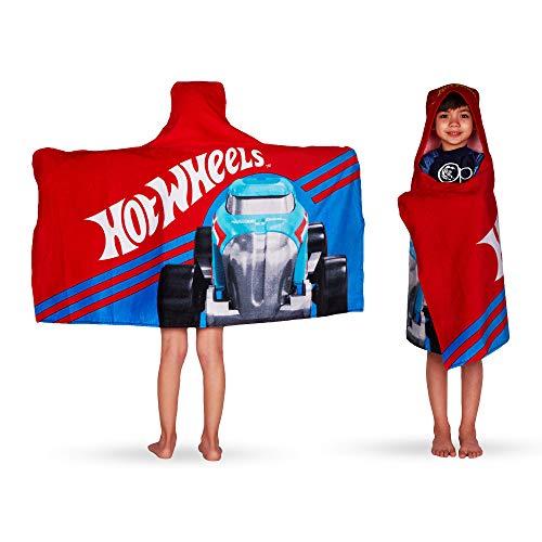 Franco Kids Bath and Beach Soft Cotton Terry Hooded Towel Wrap, 24' x 50', Hot Wheels