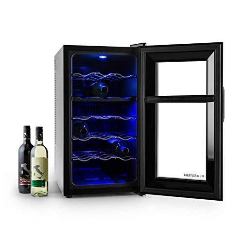 Klarstein Vinesse - Cave à vin, Design et moderne, Lumière LED bleue, Panneau de contrôle tactile, Classe énergétique C, 18 bouteilles, Noir