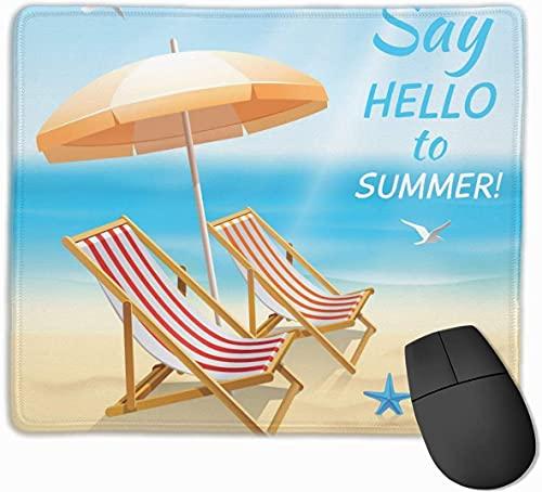 Summer Holidays Beach Chair rutschfeste Gaming-Mauspad-Mausmatte mit genähten Kanten, 18 x 22 cm