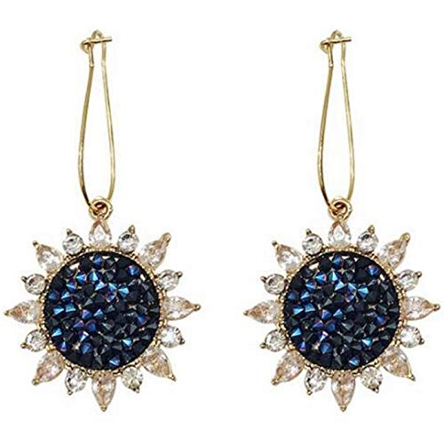 ACAMPTAR Korea Crystal Sunflower Pendant Earrings Gold Ear Hook Lady Pendant Earrings Fashion Jewelry