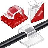 Blulu 100 Piezas Mini Clips de Cable de Exterior con Cinta Adhesiva Clips Decorativos de Luces Ganchos Autoadhesivos Soporte de Alambre para Navidad y Luz de Hada (Mediano, Transparente)