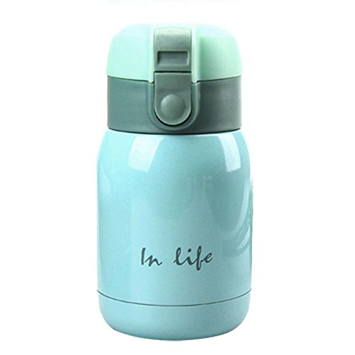 Cikuso Mini Botella de Termo de Acero Inoxidable en froma de Vientre Grande (Azur) 200ml
