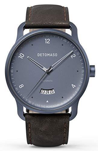 DETOMASO VIAGGIO Automatic Blue Herren-Armbanduhr Analog Quarz Italienisches Lederarmband Dunkel Braun