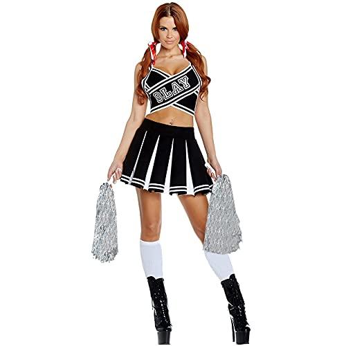 G-Kids Damen Sexy Cheerleader Kostüm Cheerleading Uniform Karneval Fasching Party Halloween Kostüm Kleid Minirock mit 2 Pompoms Socks (Schwarz, S)