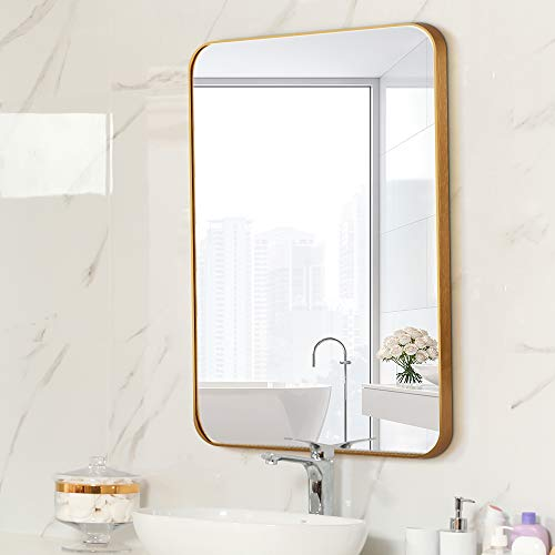 Letushy Aluminium Frame Wall Mirror, Rectangle Bathroom Mirror, Vanity Mirror, Makeup Mirror, Round Corner Design, 24'×36', Gold