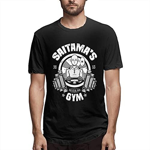 Joseper Camiseta de hombre One Punch Man Saitama de impresión de rotura de cristal estampado estampado camiseta negro XXXX-Large