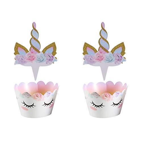 Amosfun Einhorn Cake Topper und Cupcake Wrapper Set Muffin Dessert Kuchen Dekorationen für Baby Shower Mädchen Kinder Geburtstag Party Decor 24st