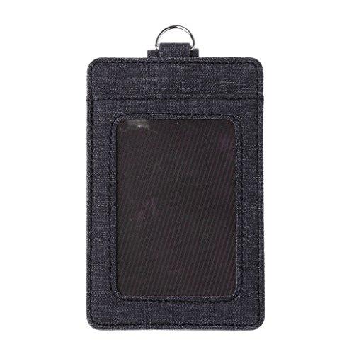 Roydoa - Tarjetero unisex para tarjetas de identificación, ventanas, tarjetas de autobús de oficina, accesorios de insignia, color negro talla única