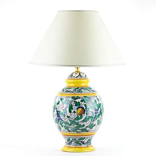 Lume in ceramica di Caltagirone decorato a mano H cm 32, lampada da tavolo artistica