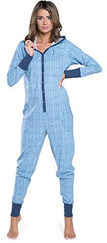 Damen Schlafanzug aus Baumwolle, Pijama Onesie warm Jumpsuit Long Sleeve Bodysuit mit Kapuze |Nachtwäsche Weihnachten | Model Herbst Winter 2020 (S, Blau)