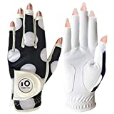 Golf Gloves Women Left Hand Right Leather with Ball Marker Full Finger/Nail Colors Pack, Womens Ladies Fashion All Weather Grip, Fit Size S M L XL (Mod Dot Nail, XL-Worn on Right Hand)