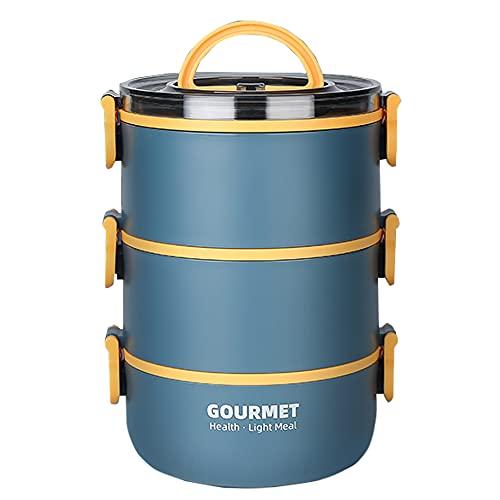Boîtes à Bento pour Adultes&Enfants,Multicouche Empilable Boîte à Repas Hermétique en Acier Inoxydable Boîtes Alimentaires Isothermes avec-Sans BPA (bleu, 3-Tier)