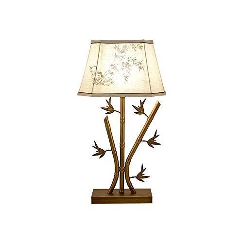 LYYJIAJU Rustieke IJzeren Art Bamboe Bladeren Tafellamp, Linnen afdrukken Lampenkap, voor Woonkamer Slaapkamer Nachtkastje Kantoorfamilie