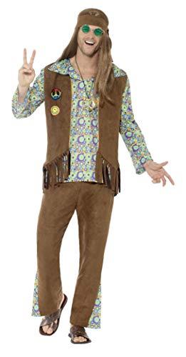 Smiffy's - Heren jaren 60 hippie kostuum, broek, bovendeel, vest, medaillon en haarband, meerkleurig