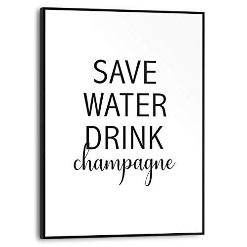 Schilderij Slim Frame Save water, drink champagne Engelse tekst - Quote - 30 x 40 cm Woonkamer