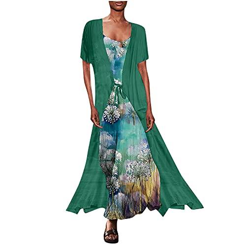 Masrin Sommerkleid Zweiteiliges langes Kleid für Damen Einfarbige Kurzarm-Robe + ärmellose Sling 3D-gedrucktes knöchellanges langes Kleid Modisches Chiffon-Maxikleid(XXL,Grün)