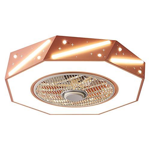 Ventiladores de techo de 55 cm con luz, moderno plafón invisible, color/brillo, viento de 3 velocidades con mando a distancia, ventiladores de techo muti para salón, dormitorio, rosa