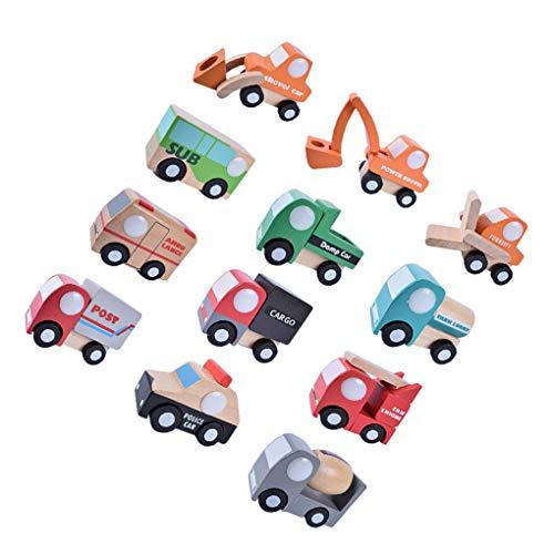 rongweiwang 12 Piezas/Juego Multi-patrón Aeroplano Modelo de Coche de bebé de Madera Primeros Regalos del Aeroplano Vehículos Juguetes del bebé de los niños del Juguete Educativo cumpleaños