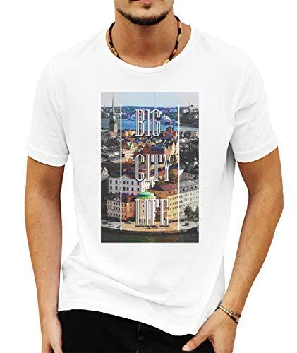 "Wild Soul Tees - Camiseta de manga corta para hombre, diseño con texto ""Love Stockholm Capital of Suecia"" Blanco blanco S"