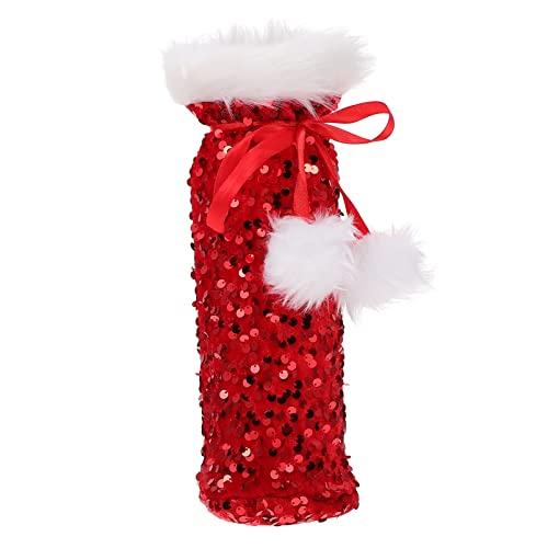 Bolsas de botella de vino de Navidad: Capa de botella de lentejuelas con purpurina con cuello de piel sintética Bolsa de regalo de champán para decoración de mesa de comedor de fiesta de vacaciones