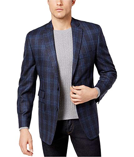 Michael Kors Mens Classic-Fit Two Button Blazer Jacket, Blue, 40 Long