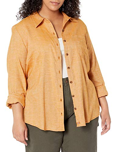 Dickies Women's Long-Sleeve Flannel Shirt, Black Iris/Texas Topez Plaid, Medium