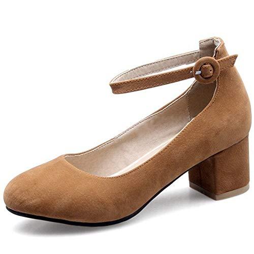 Comfortabel en veelzijdig temperament Pump For Women Chunky 6cm / 2,36 '' Heel enkelband met ronde Buckle Faux Suede Zool Rubber Pure Color ronde neus Ondiepe Mouth hjm nvxie jfidmra