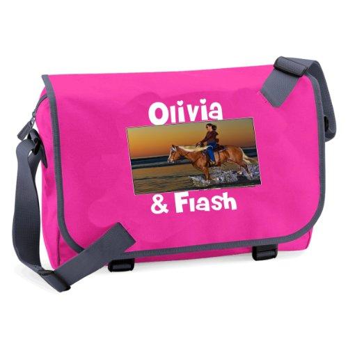 , der IN der Schule oder Uni messenger bag, mit Foto und NAME: Pferd und Reiter (bitte INPUT NAME und Farbe IN GIFT MESSAGE BOX)