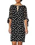 Marca Amazon - TRUTH & FABLE Vestido Evasé de Gasa Mujer, Ecru (Spot Print), 42, Label: L