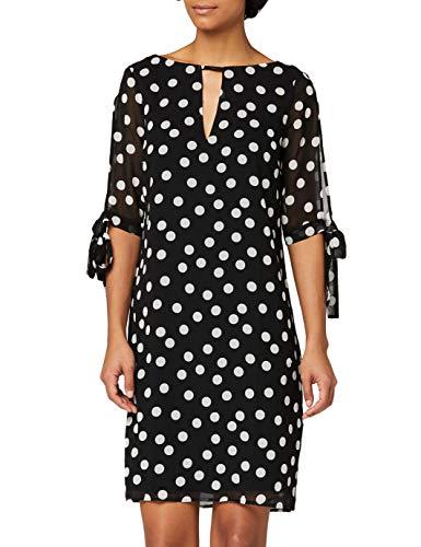 Amazon-Marke: TRUTH & FABLE Damen Chiffon-Kleid mit A-Linie, Elfenbein (Spot Print), 38, Label:M