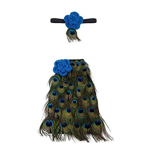 CHIC Bébé Déguisement Costume Prop Photographie Bandeau Cheveux Fleur Aile Ange Princesse 0-6M (Paon)
