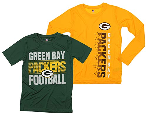 Outerstuff NFL Boys Youth Football Fan Two Performance T-Shirt Set, Green Bay Packers, Small 8