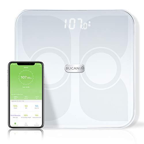Digitale Körperfettwaage, Personenwaage Mit APP, Intelligente Waage Körpergewichtsskala Bluetooth Waage Mit ITO leitfähiges Glas 180kg Weiß
