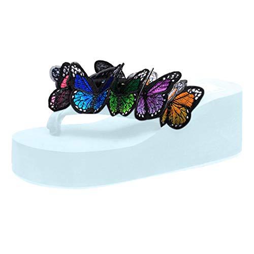 WWricotta Women Girls Butterfly Floral Wedges Flip Flops Sandals Slippers Beach Shoes(Himmelblau,41)