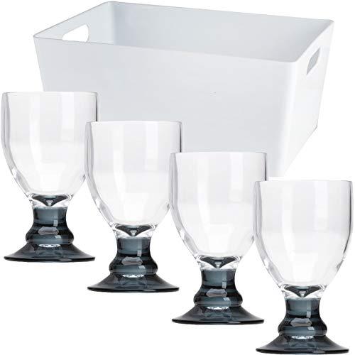 Acryl Gläser in Set mit Aufbewahrungsbox mit grauem Boden - unterschiedliche Größen - Trinkglas Weinglas Sektglas Kelch Goblet Wasserglas Trinkbecher Glas - Zubehör Kunststoff Campinggeschirr Camping
