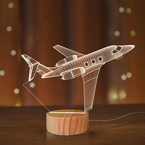 Flugzeug Nachtlicht 3D Illusionslampe, weiche warme Farben Holz Tischlampe für Jungen Pilot Geschenke mit USB Power (Flugzeug)