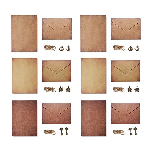 Gwotfy Juego de sobres vintage, juego de 6 sobres envejecidos de papel de carta vintage, juego de papel de carta de escritura de papelería vintage, Papel Kraft de estilo clásico vintage