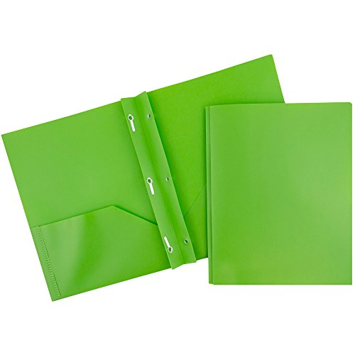 JAM Paper Plastic Two Pocket Folders with Metal Prong Fastener Clasps - Lime Green - Sold Individually