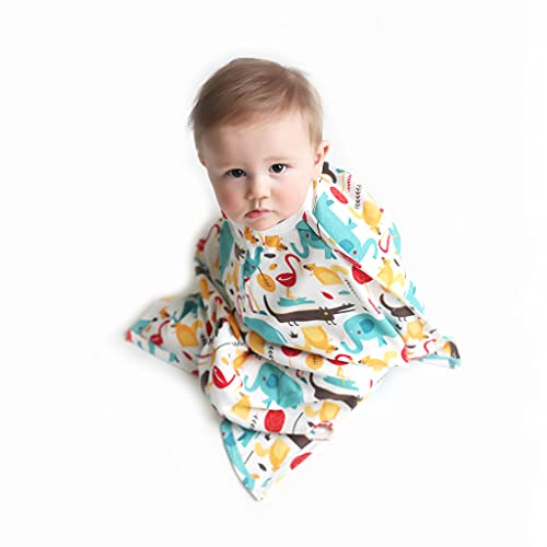 SleepingBaby Cotton/Cotton Blend Zipadee-Zip Swaddle Transition Baby Swaddle Blanket with Zipper, Cozy Baby Sleep Sack Wrap (Small 4-8 Months   12-19 lbs, 25-29 inches   Modern Animals)
