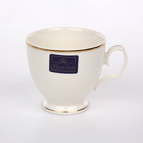 MariaPaula Kaffeeservice Teeservice Chodziez Ecru mit Goldstreifen Porzellan (Tasse 220 ml)
