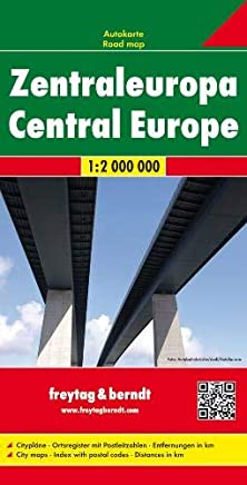 Europa centrale 1:2.000.000: Citypläne. Ortsregister mit Postleitzahlen. Entfernungen in km