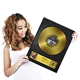 Disco de oro como certificado personalizado con marco de madera - Regalo...