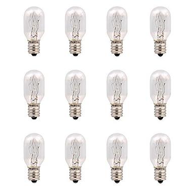 12 Pack-15 Watt Salt Lamp Bulbs Incandescent E12 Socket Candelebra Original Replacement Light Bulbs