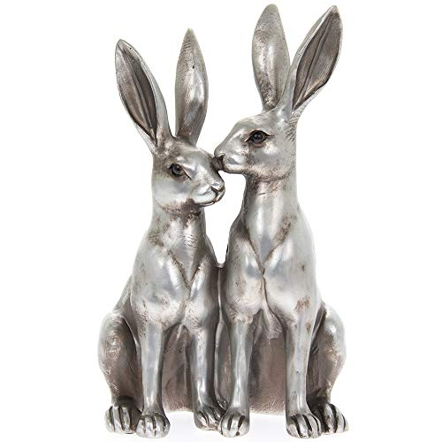 Thorne Antiques & Collectables Mr & Mrs Hare Ornament - Pair of Hares Statue in Choice of Colours (Silver)