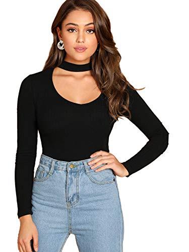 Floerns Women's Choker Neck Cutout Keyhole Sexy Long Sleeve Tee Shirts Tops Black XL