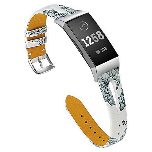 XIALEY Correa Compatible con Fitbit Charge 4 / Fitbit Charge 3, Delgadas Correas De Reloj De Cuero Fino Patrón De Flores Pulsera Banda De Repuesto Brazalete para Charge 3 / Charge 4,E
