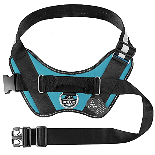 Bolux Service Dog Harness, Easy On and Off Pet Vest Harness, Reflective Breathable and Easy Adjust Pet Halters with Nylon Handle for Small Medium Large Dogs - No More Pulling, Tugging or Choking
